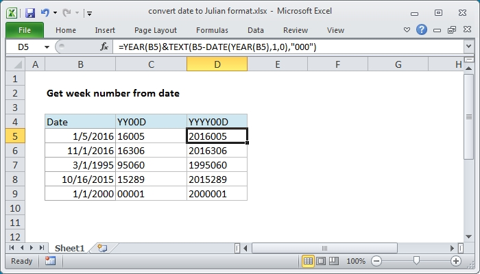 Excel Formula: Convert Date To Julian Format | Exceljet pertaining to Julian Calendar Date Lookup
