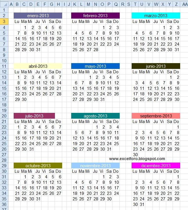 Excel Foro: Ejercicios, Ejemplos, Soluciones, Dudas: Obtener regarding Numero De Semanas En El Calendario Graphics