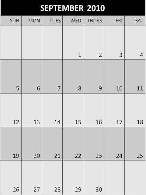 Fdfspofu: Blank Monthly Calendar 2010 regarding 11 X 17 Lank Calendar Image