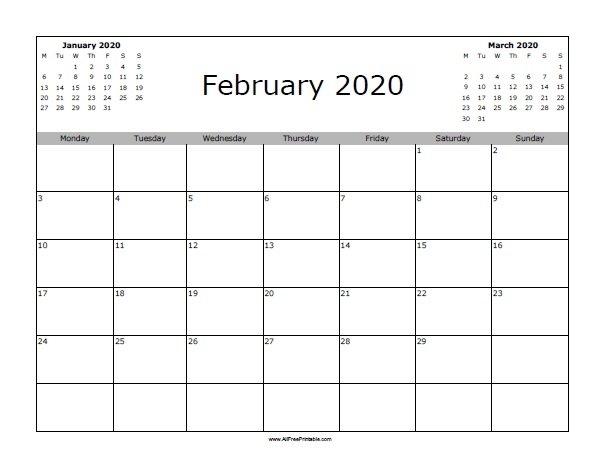 February 2020 Calendar - Free Printable - Allfreeprintable in Feb 2020 Calendars Free Printable Image