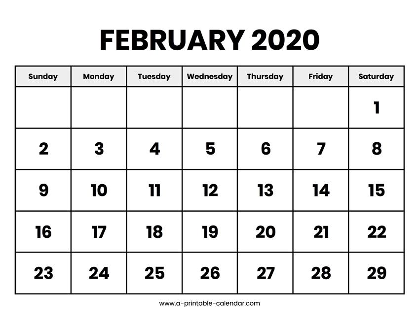 February 2020 Calendar Printable pertaining to 8.5X 10 Free February Blank Calendar