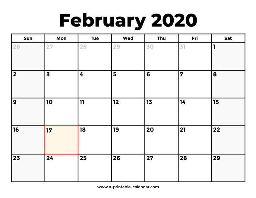 February 2020 Calendar With Holidays in Feb 2020 Calendars Free Printable