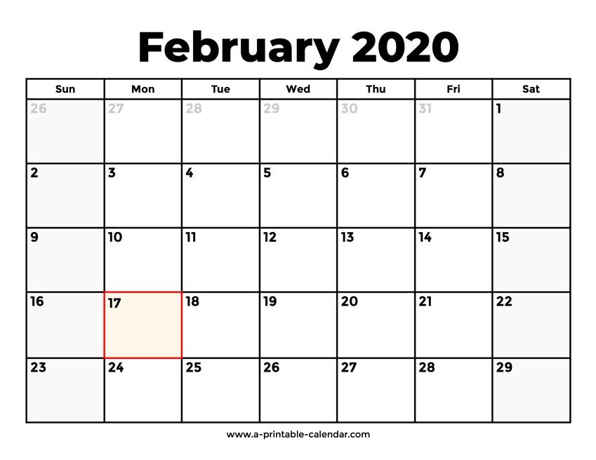 February 2020 Calendar With Holidays regarding 2020 February Calendar Printable Free Pdf
