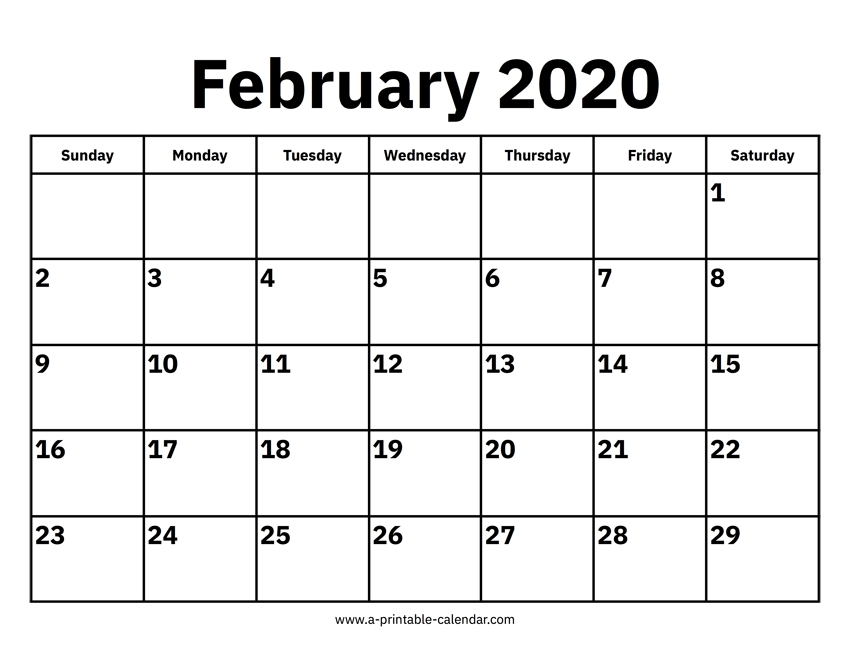 February 2020 Calendars – Printable Calendar 2020 pertaining to 2020 February Calendar Printable Free Pdf Image