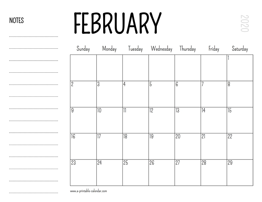 February 2020 Printable Calendar for 8.5X 10 Free February Blank Calendar