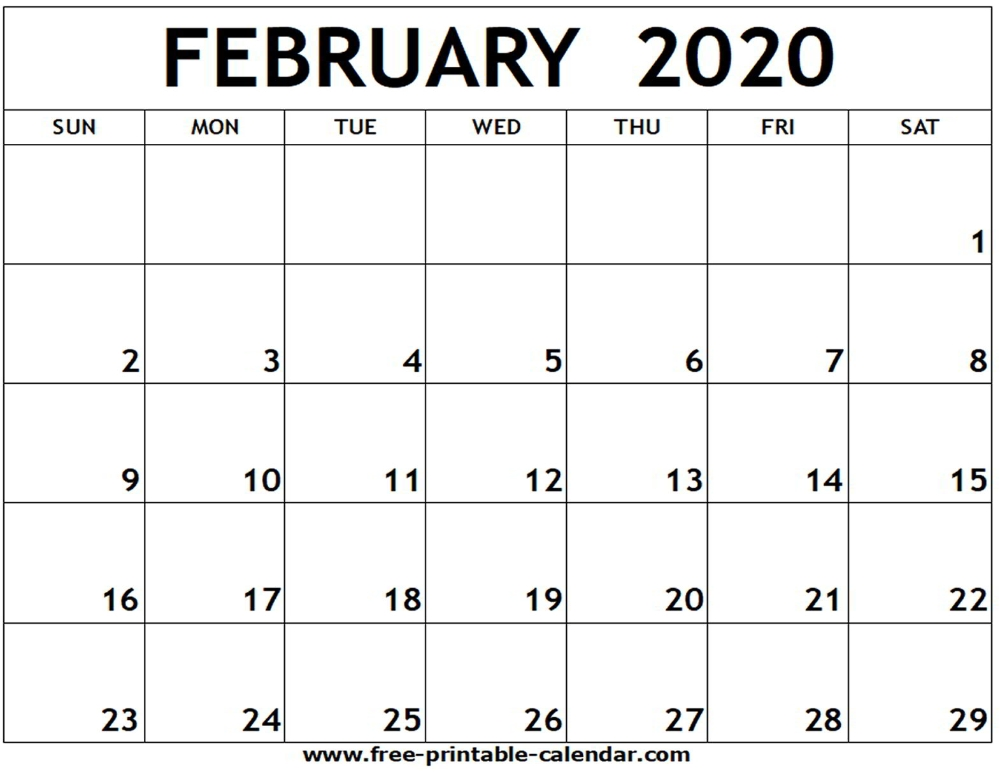 February 2020 Printable Calendar - Free-Printable-Calendar with regard to Feb 2020 Calendars Free Printable