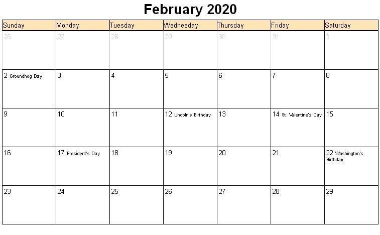 February Calendar 2020 Free Printable Template Pdf Word for 2020 February Calendar Printable Free Pdf Image