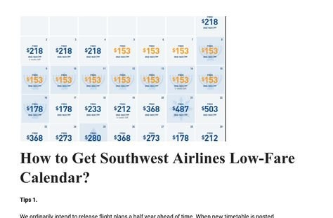 Find Here Southwest Airlines Low Fare Calendar And Book with Southwest Airlines Calendar Graphics