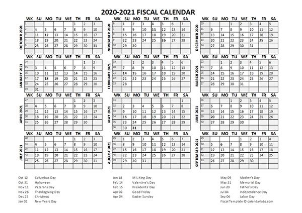Fiscal Calendar 2020-21 Templates - Free Printable Templates with regard to Free Printable Fiscal Calendars
