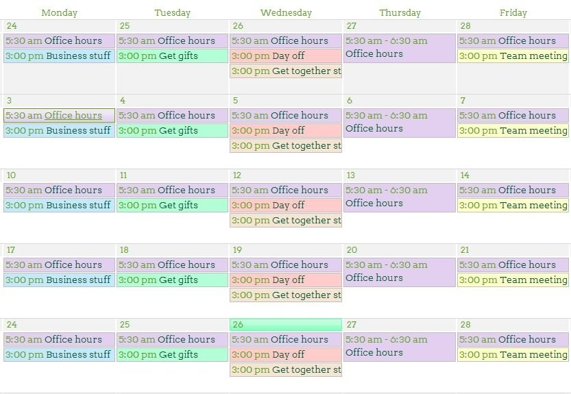 Four Easy Steps To Customized Color Code Calendars In Sharepoint for Color Coded Schedule Image