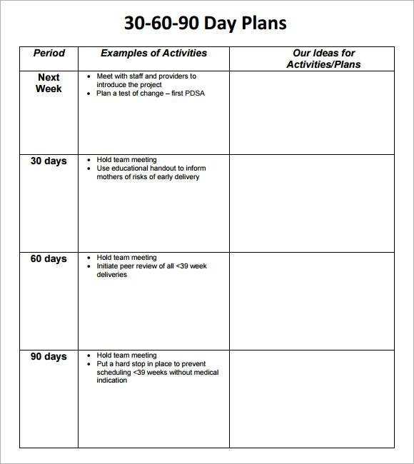 Free 18+ 30-60-90 Day Action Plan Samples In Pdf | Ms Word with regard to 90 Day Project Calendar Printable
