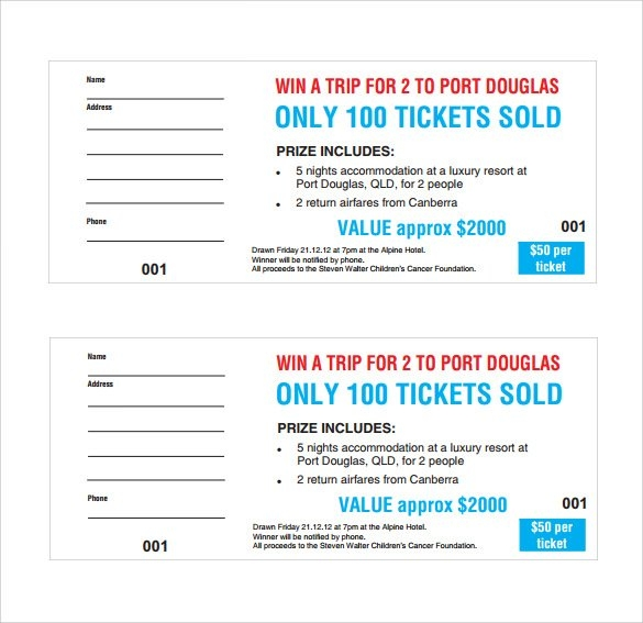 Free 31+ Raffle Ticket Templates In Ai | Indesign | Ms Word with Free Lottery Calendar Fundraiser Template Graphics