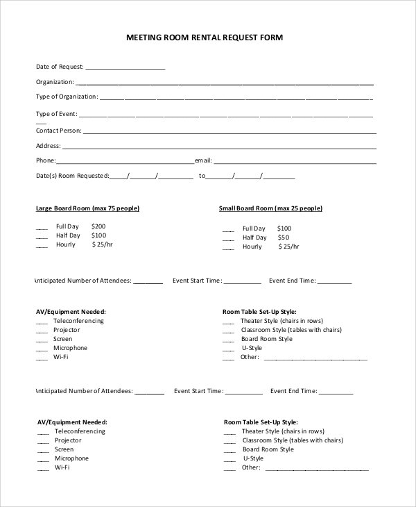 Free 8+ Sample Room Rental Agreement Templates In Pdf   Ms with Conference Room Template Samples Graphics