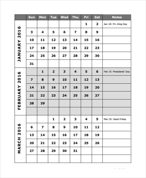 Free 9+ Sample Quarterly Calendar Templates In Pdf   Ms Word pertaining to Three Month Calendar For Word Photo