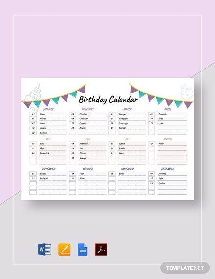 Free Birthday Calendar Templates - Microsoft Word (Doc inside Free Birthday Calendar Printable Word