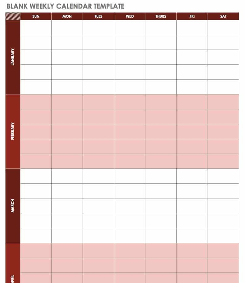Free Blank Calendar Templates - Smartsheet pertaining to Free Color Coded Calendar Template