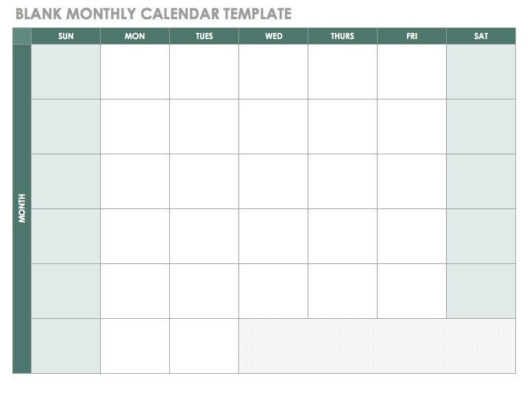 Free Blank Calendar Templates - Smartsheet regarding Monthly Calendar Weekdays Only