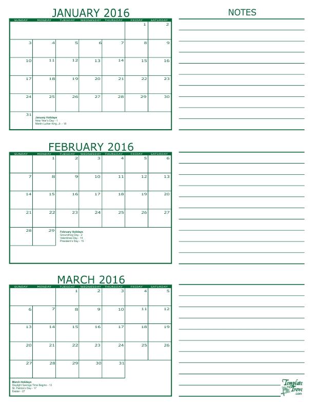 Free Calendars To Print | Pdf Calendars inside Blank Calendar - 8 1/2 X 11 To Print Photo