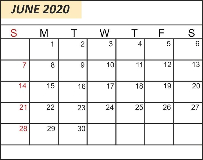 Free Editable June 2020 Calendar | Monthly Calendar intended for June 2020 Calendar With Time Slots