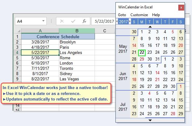 Free Excel Pop-Up Calendar & Excel Date Picker with Calendar Drop Down In Excel Photo