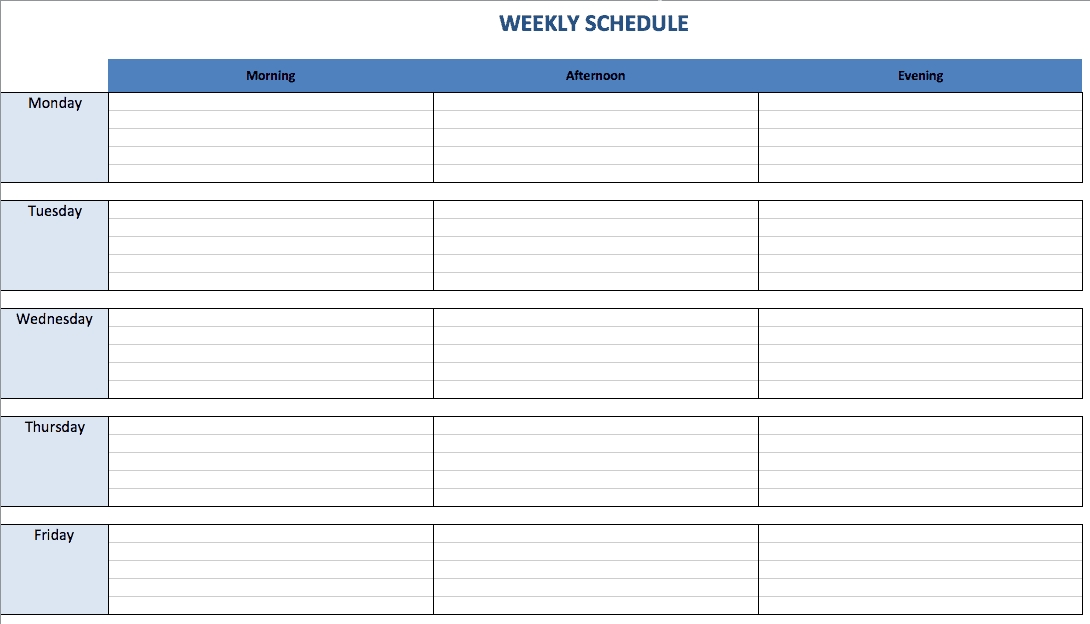 Free Excel Schedule Templates For Schedule Makers for Housekeeping Week Schedule Sunday Thru Sunday