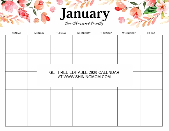 Free Fully Editable 2020 Calendar Template In Word intended for Calendar Template Graphics