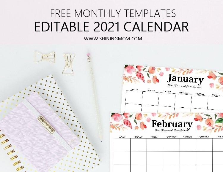 Free Fully Editable 2021 Calendar Template In Word for Editable Monthly Calendars Teachr At Heart