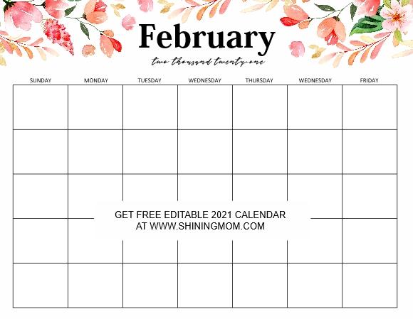Free Fully Editable 2021 Calendar Template In Word inside Editable Monthly Calendars Teachr At Heart