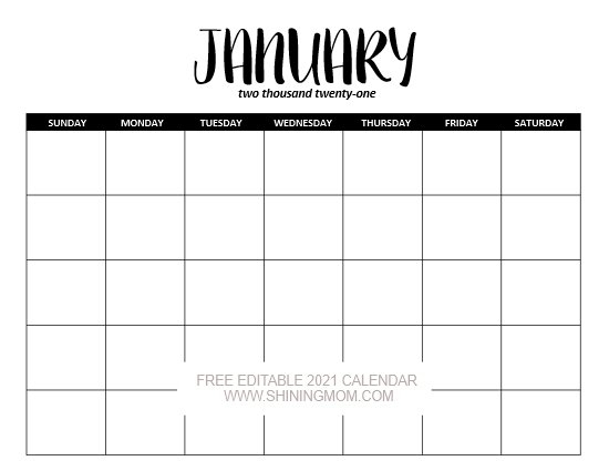 Free Fully Editable 2021 Calendar Template In Word intended for Editable Monthly Calendars Teachr At Heart