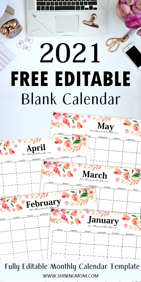 Free Fully Editable 2021 Calendar Template In Word pertaining to Editable Monthly Calendars Teachr At Heart