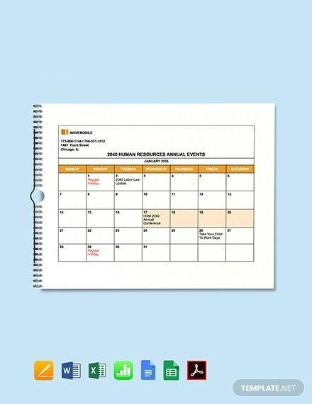 Free Hr Calendar Templates - Microsoft Excel (Xls inside Human Resources Annual Calendar Template