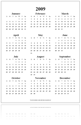 Free Online Calendar Pdf - Year On A Page for Incomptech.com/Calendar