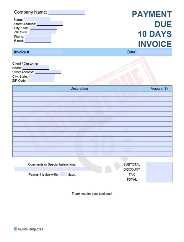 Free Payment Due In 10 Days Invoice Template | Pdf | Word throughout Template For 10 Days Photo