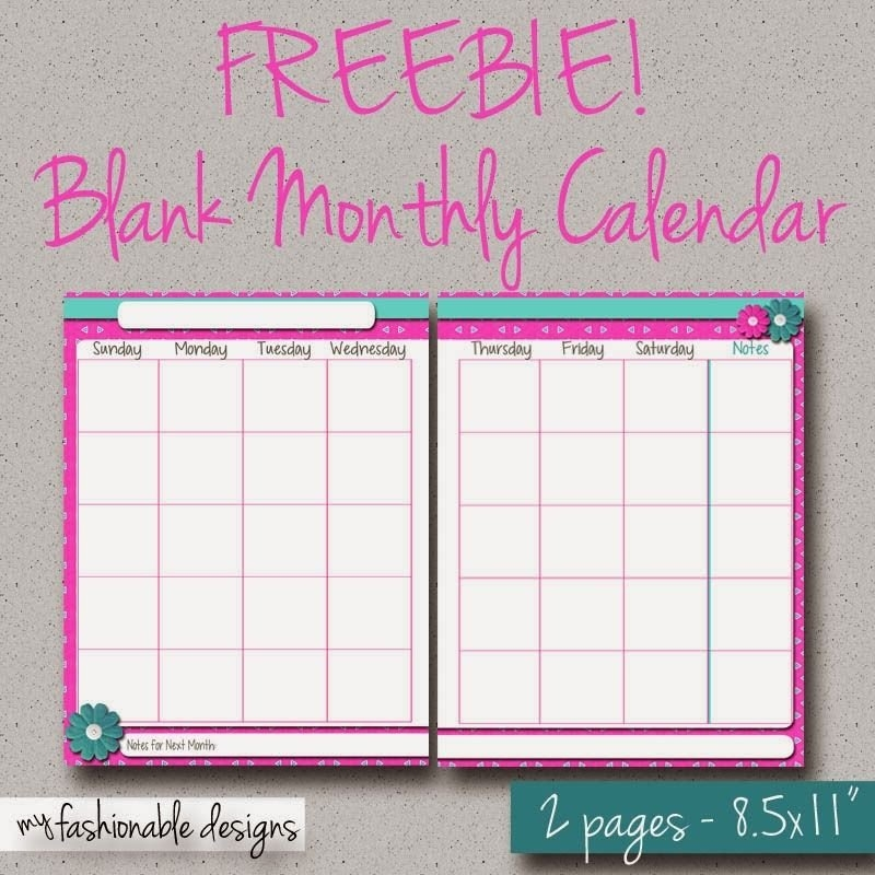Free Printable 2-Page Monthly Calendar - Spring Flowers with Blank Free Printable 8.5 X 11 Calendars Graphics