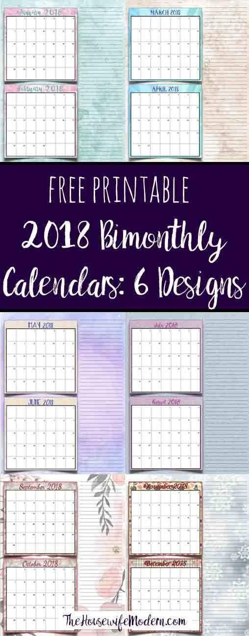 Free Printable 2018 Bimonthly Calendars: 6 Designs! regarding Bimonthly Calendar Free Print