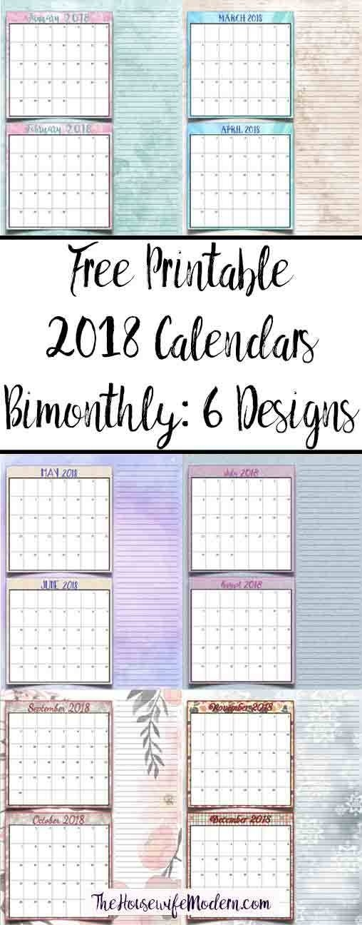 Free Printable 2018 Bimonthly Calendars: 6 Designs! with Bimonthly Calendar Free Print Graphics