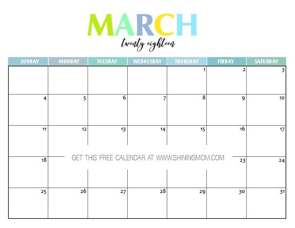 Free Printable 2018 Calendar: Pretty And Colorful! in Imom Calendar
