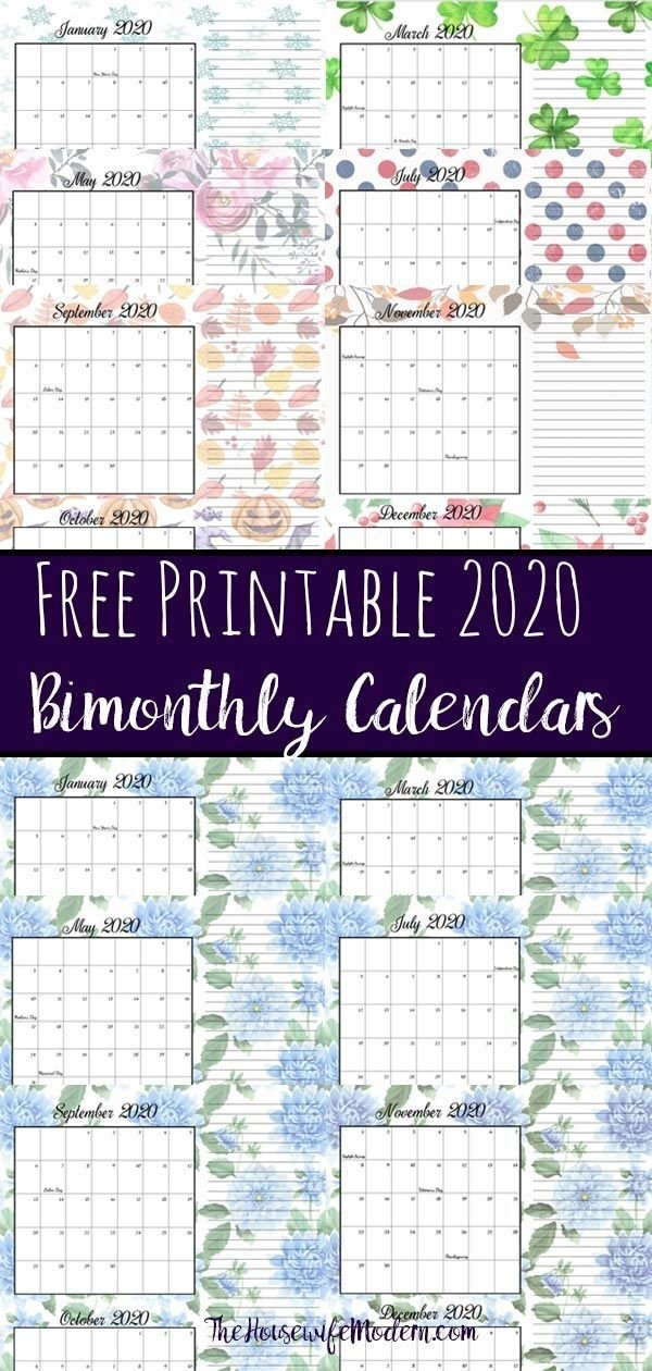 Free Printable 2020 Bimonthly Calendars With Holidays: 2 for Bimonthly Calendar Free Print