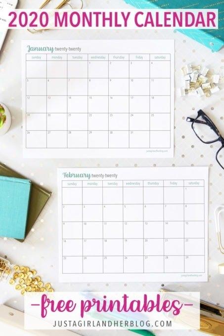 Free Printable 2020 Calendar | Abby Lawson within 2020 Calendar Free Printable Photo