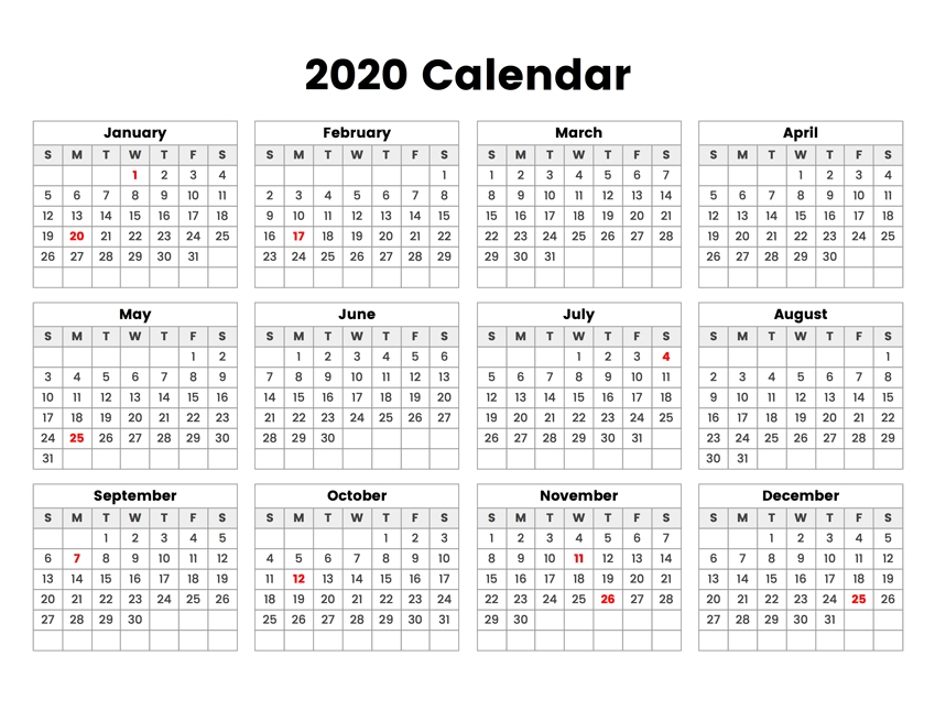Free Printable 2020 Calendar – One Page Template | 12 Month pertaining to 28 Day Multi Dose Vial Expiration Calendar In Color Image