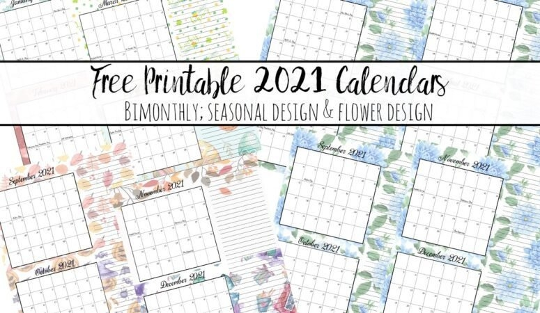 Free Printable 2021 Bimonthly Calendars With Holidays: 2 Designs inside Bimonthly Calendar Free Print Graphics