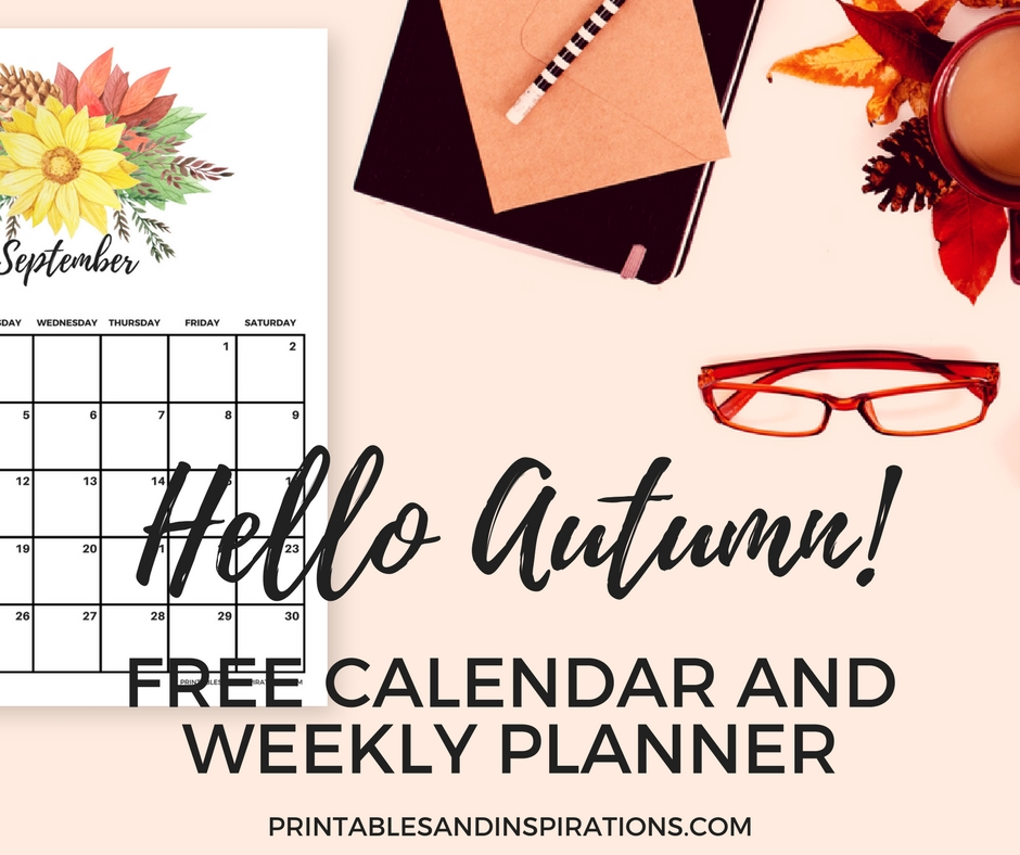 Free Printable Autumn Calendar And Weekly Planner regarding Monday To Friday Calendar To Print Out Fall