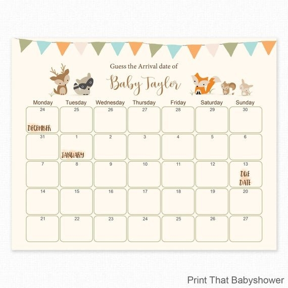 Free Printable Baby Due Date Calendar throughout Printable Guess Baby Date Image