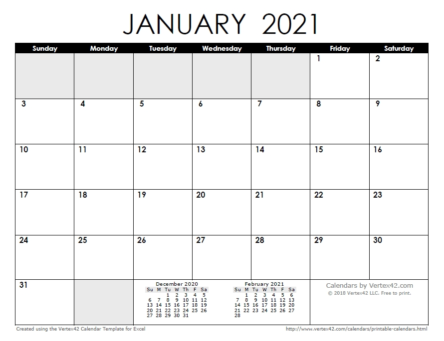 Free Printable Calendar - Printable Monthly Calendars in The No-Frills Free Calendar
