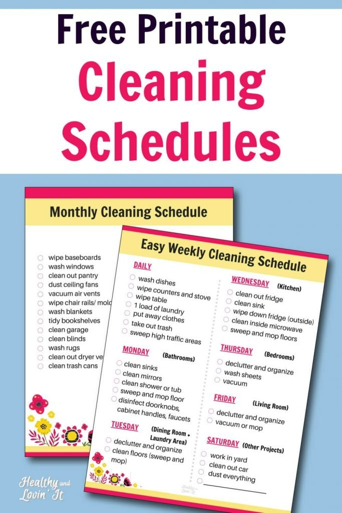 Free Printable Cleaning Schedule - Daily, Weekly, And in Housekeeping Week Schedule Sunday Thru Sunday Photo