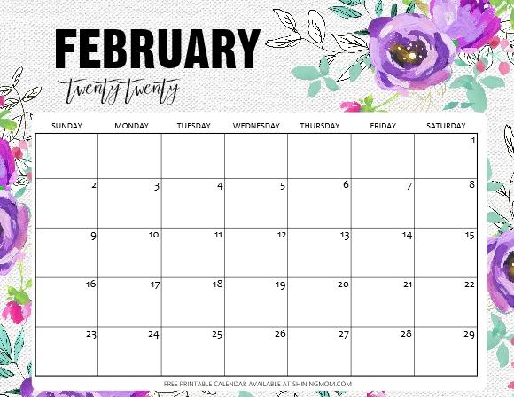 Free Printable February 2020 Calendar: 12 Awesome Designs! inside Feb 2020 Calendars Free Printable