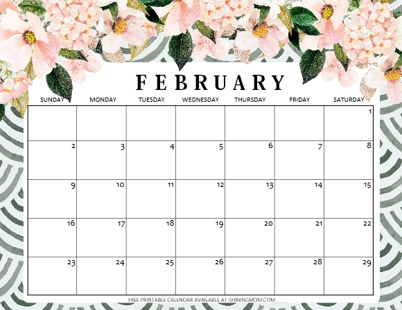 Free Printable February 2020 Calendar: 12 Awesome Designs! intended for Feb 2020 Calendars Free Printable