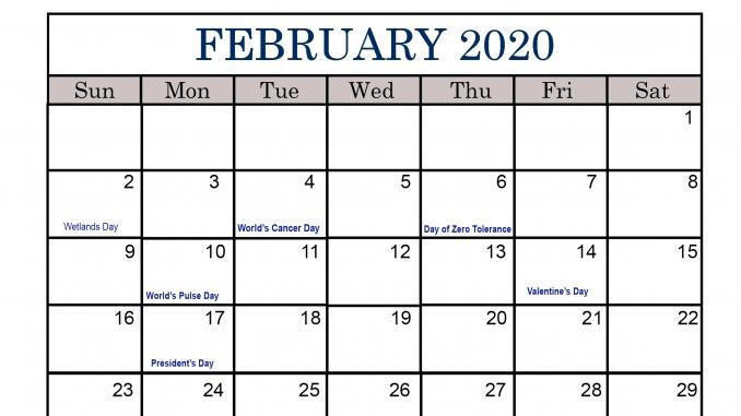 Free Printable February Holidays 2020 Calendar Template inside 2020 February Calendar Printable Free Pdf