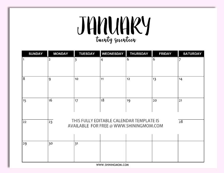 Free Printable: Fully Editable 2017 Calendar Templates In in Understated Printable Calendars Image