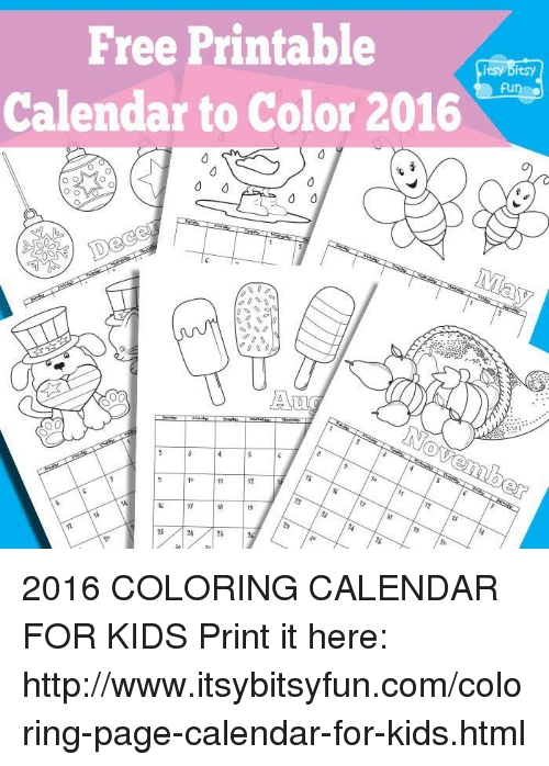 Free Printable Itsy Bitsy Fun O Calendar To Color 2016 Aur inside Itbsy Bitsy Fun Calendars Photo